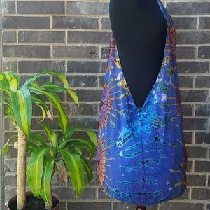 Handbags - Tie Dye Blue Cross Body Hippie Bag - Large